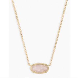 EUC Kendra Scott Elisa Necklace Gold Rose Quartz